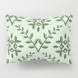 Green Olive Branch Pattern Pillow Sham