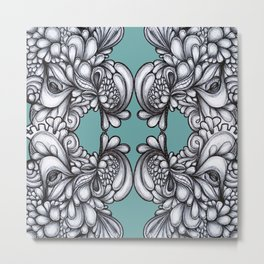 Drips on Teal. Black and white pen illustration pattern.  Metal Print