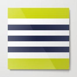 Modern Classy Navy Blue Lime Green STRIPES Metal Print
