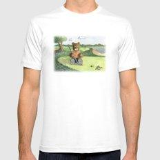 Golfer Bear White MEDIUM Mens Fitted Tee