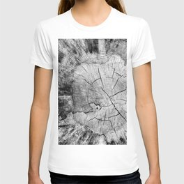 sawed tree texture T-shirt