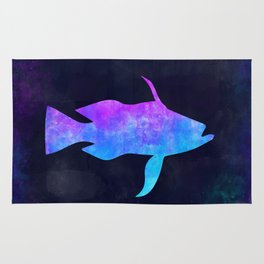 BASS FISH IN SPACE // Animal Graphic Art // Watercolor Canvas Painting // Modern Minimal Cute Rug