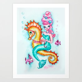 Pink Bouffant Mermaid Riding a Seahorse Art Print