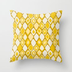 Almas diamond ikat gold Throw Pillow