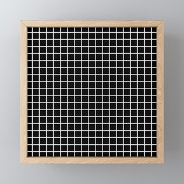 fine white  grid on black background - black and white pattern Framed Mini Art Print