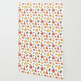 cute colorful autumn fall pattern with pears, apples, leaves, acorns, chestnuts and mushrooms Wallpaper
