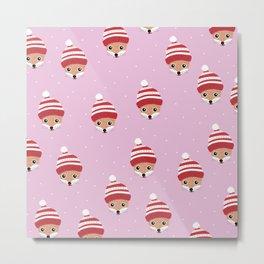 Little fox friends in santa hats kids christmas pattern girls red pink Metal Print