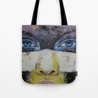 superhero Tote Bags featuring Superhero by Michael Creese