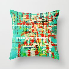 on my street -turquoise abstract Throw Pillow