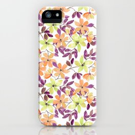 Orange, green and yellow watercolor flowers on white iPhone Case