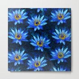 Water Lilies Blue Van Gogh Style Metal Print