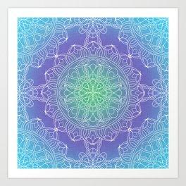 White Lace Mandala in Blue, Green and Purple Art Print
