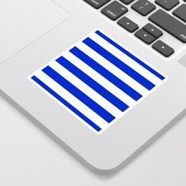 Cobalt Blue and White Wide Cabana Tent Stripe Sticker