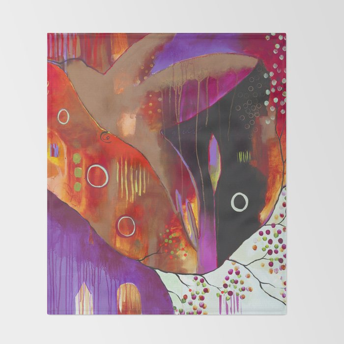 """""""Reflect You"""" Original Painting by Flora Bowley Throw Blanket"""