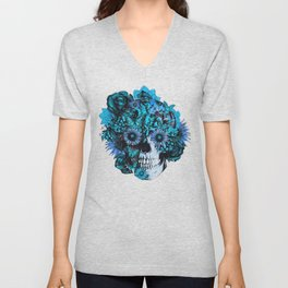 Full circle...Floral ohm skull pattern Unisex V-Neck