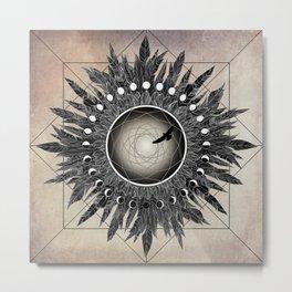 Crow Twilight Dreamcatcher Metal Print