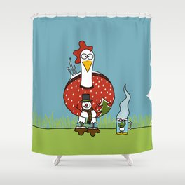 Eglantine la poule (the hen) ready for the hollydays. Shower Curtain