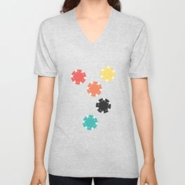 #21 Poker Chips Unisex V-Neck