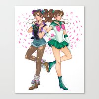 sailor jupiter Canvas Prints featuring Sailor Jupiter by Jen Bartel