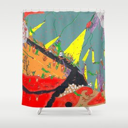 Dinosaur battle _volcano Shower Curtain