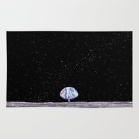 neil gaiman Area & Throw Rugs featuring Neil Armstrong by Enrico Barin Guarise
