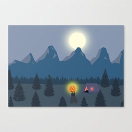 Bonfire camping in the mountains Canvas Print