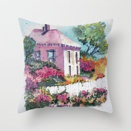 Pink House in Provence Throw Pillow