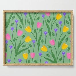Tulips & Crocuses sage green pattern Serving Tray