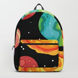 Colofrul planets stars and satellites on a starry sky space seamless pattern Backpack