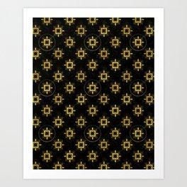 Black & Gold Art Deco Geometric Pattern Art Print