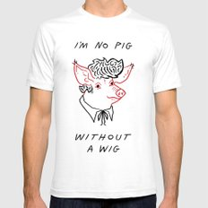 I'M NO PIG WITHOUT A WIG  SMALL White Mens Fitted Tee