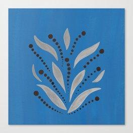 Silver Leafs – Blue Bell – Scandinavian Folk Art Canvas Print