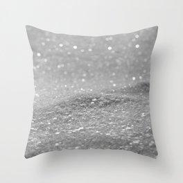 Glitter Silver Throw Pillow
