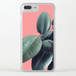 Ficus Elastica Summer Vibes #1 #coral #foliage #decor #art #society6 Clear iPhone Case