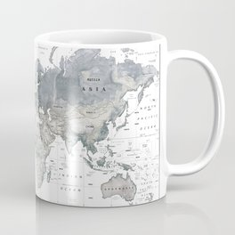 The World [Black and White Relief Map] Coffee Mug