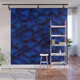 Deep Blue Fern Plant Wall Wall Mural