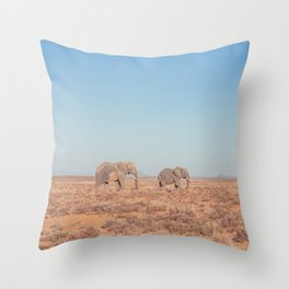 Elephants in South Africa Throw Pillow