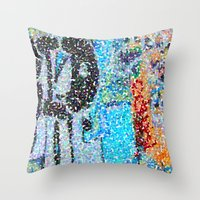 detroit Throw Pillows featuring DETROIT GRAFFITI by Brittany Gonte