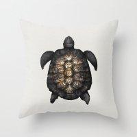 tortoise Throw Pillows featuring Tortoise by Espen Terjesen