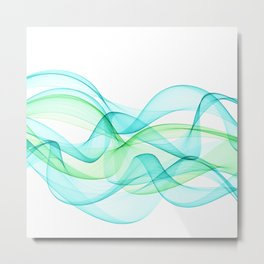 Sea Wave Pattern Abstract Aqua Blue Green Waves Metal Print