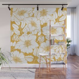 Floral Pattern, Yellow and White Wall Mural
