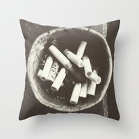 cigarettes Throw Pillows featuring cigarettes by Sushibird