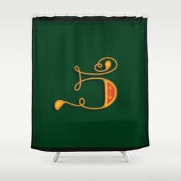 Alphabet Drop Caps Series- 5 Shower Curtain