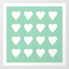 16 Hearts Mint Art Print