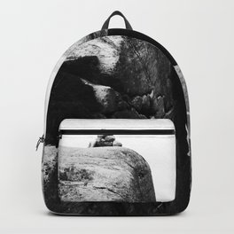 Nordic print, black white wall art, Amazing fjord, Norway cliffs, kjeragbolten, holiday Backpack