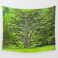 tattoos Wall Tapestries featuring Old English Tree 1 by Aaron Carberry