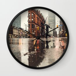 RAIN - WET - MAN - LIGHT - STREET - PHOTOGRAPHY Wall Clock