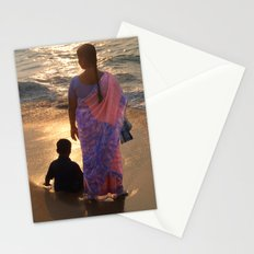 Woman in Pink and Blue Sari with Child Varkala Stationery Cards