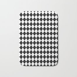 Black White Argyle Pattern Geometric Bath Mat