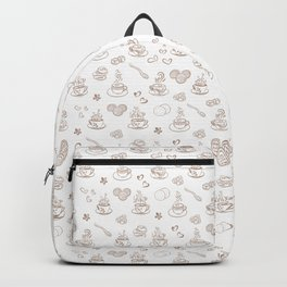 Tea time warm taupe on white Backpack